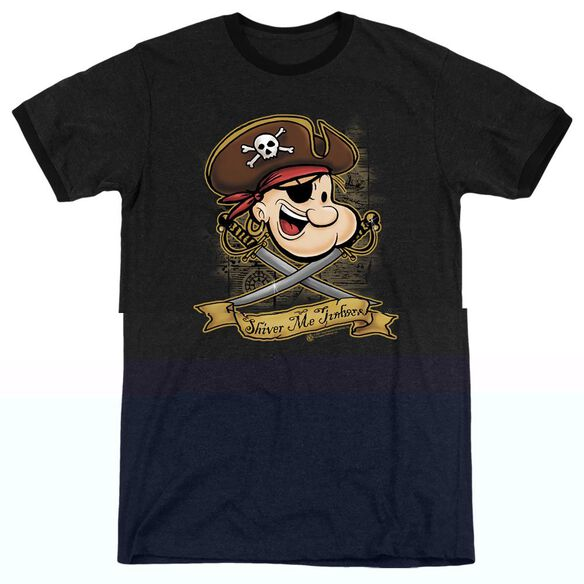 Popeye Shiver Me Timbers - Adult Heather Ringer - Black