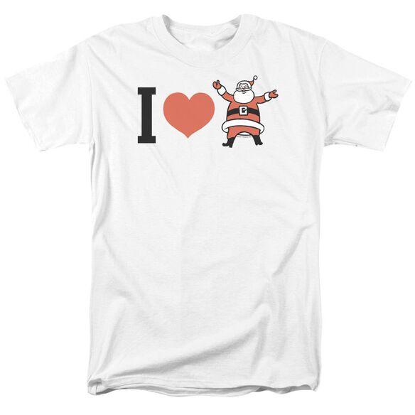 I Heart Santa Short Sleeve Adult White T-Shirt
