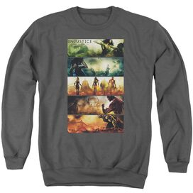 Injustice Gods Among Us Panels - Adult Crewneck Sweatshirt - Charcoal