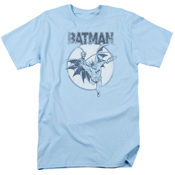 Batman Swinging Bat Short Sleeve Adult Light Blue T-Shirt