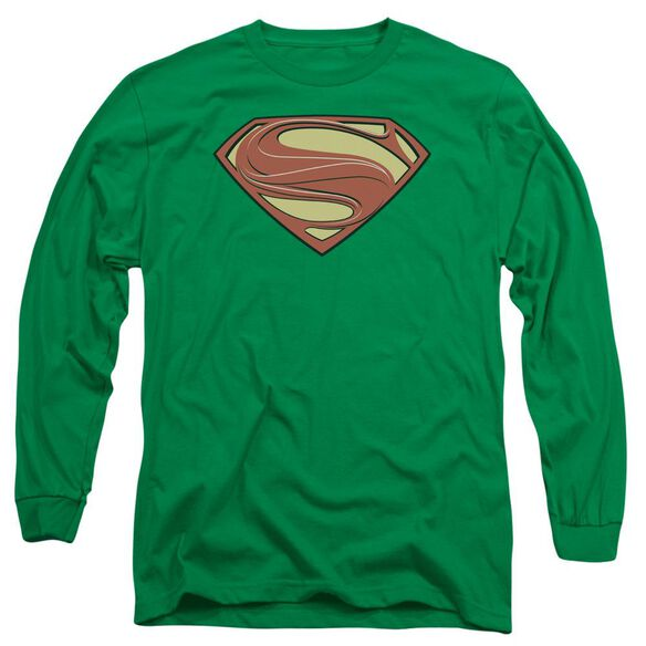 Man Of Steel New Solid Shield Long Sleeve Adult Kelly T-Shirt