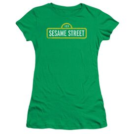 Sesame Street Rough Logo Short Sleeve Junior Sheer Kelly T-Shirt