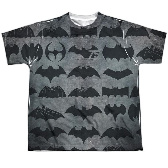 Batman 75 Symbols Short Sleeve Youth Poly Crew T-Shirt