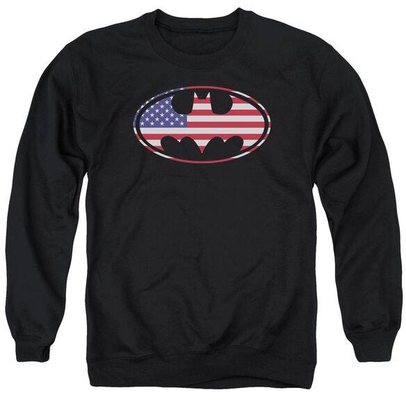 Batman American Flag Oval - Adult Crewneck Sweatshirt - Black