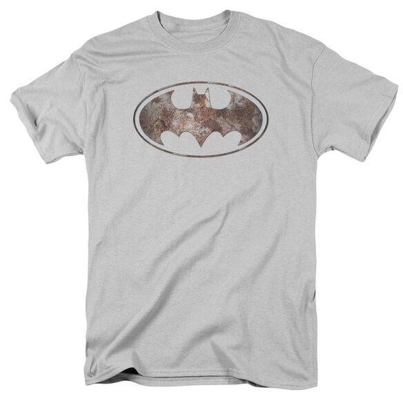 Batman Heavy Rust Logo Short Sleeve Adult Silver T-Shirt