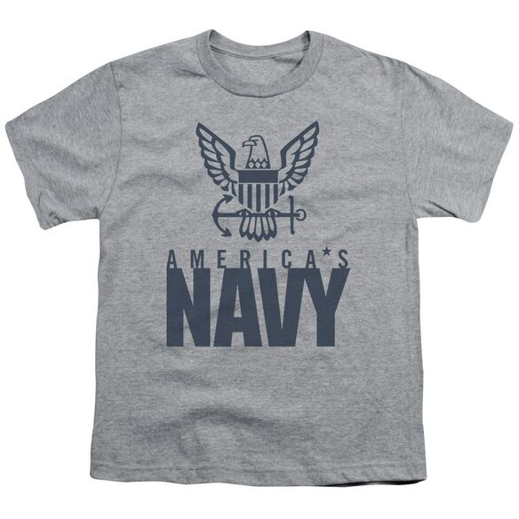 Navy Eagle Logo Short Sleeve Youth Athletic T-Shirt