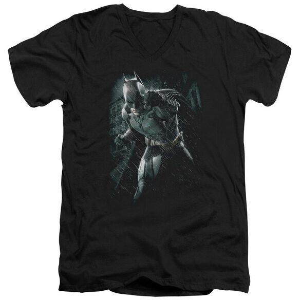 Dark Knight Rises Batman Rain Short Sleeve Adult V Neck T-Shirt