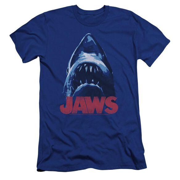 Jaws From Below Premuim Canvas Adult Slim Fit Royal