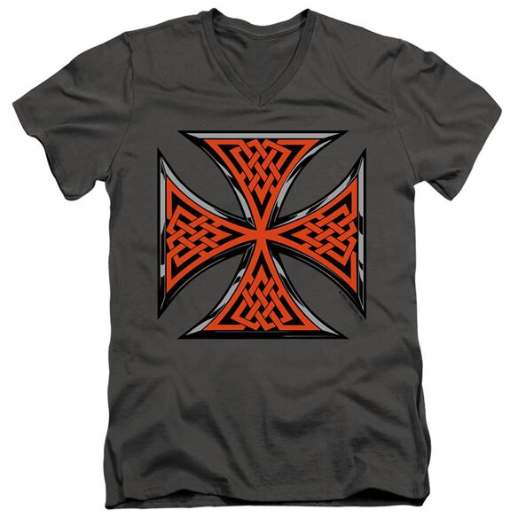CELTIC IRON CROSS - ADULT V-NECK - CHARCOAL T-Shirt
