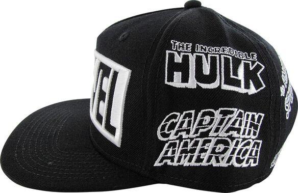 11850bf865f79 Marvel Hero Names All Over Snapback Hat
