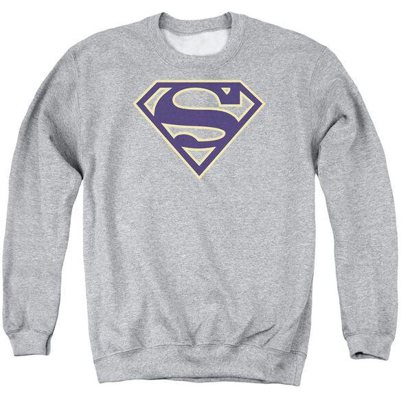 Superman Navy &Amp; Gold Shield Adult Crewneck Sweatshirt Athletic
