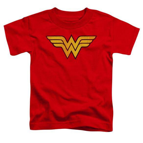 Dc Wonder Woman Logo Dist Short Sleeve Toddler Tee Red Md T-Shirt