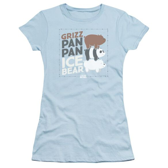 We Bare Bears Grizz Pan Pan Ice Bear Short Sleeve Junior Sheer Light T-Shirt