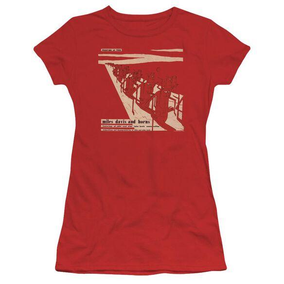 Miles Davis Davis And Horn Short Sleeve Junior Sheer T-Shirt