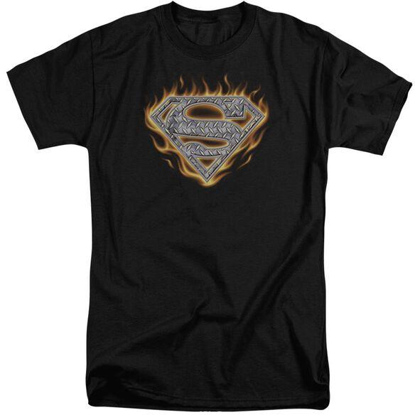Superman Steel Fire Shield Short Sleeve Adult Tall T-Shirt
