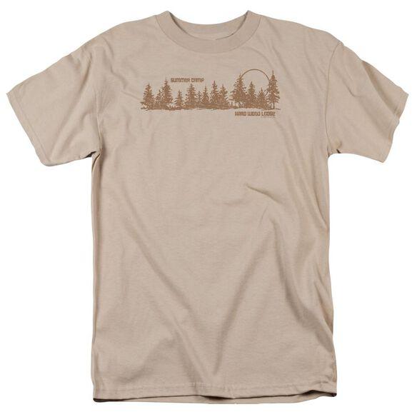 Hard Wood Lodge Short Sleeve Adult Sand T-Shirt