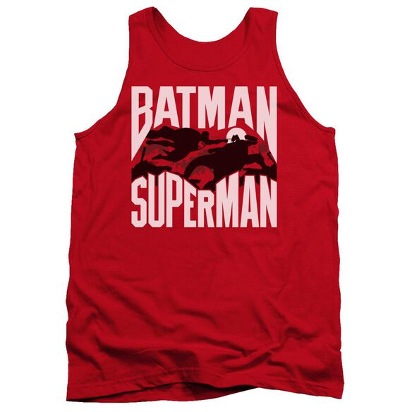 Batman Vs Superman Silhouette Fight Adult Tank