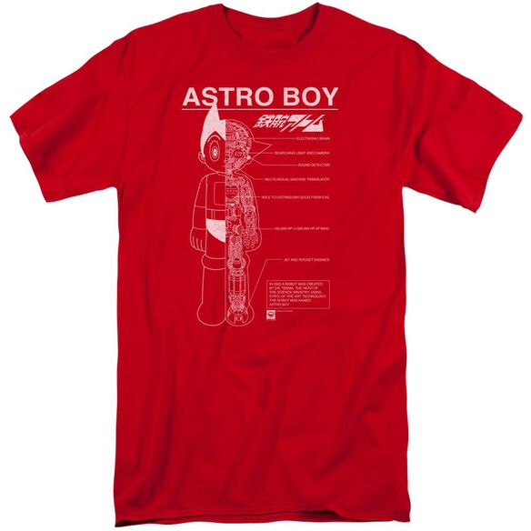 Astro Boy Schematics Short Sleeve Adult Tall T-Shirt