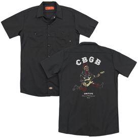 Cbgb Skull Jump (Back Print) Adult Work Shirt