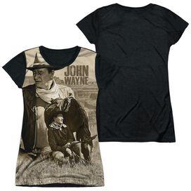 John Wayne Stoic Cowboy Short Sleeve Junior Poly Black Back T-Shirt