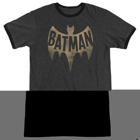Batman Classic TV Vintage Logo - Adult Heather Ringer - Charcoal