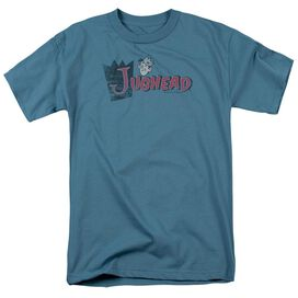 Archie Comics Distressed Jughead Logo Short Sleeve Adult Slate T-Shirt