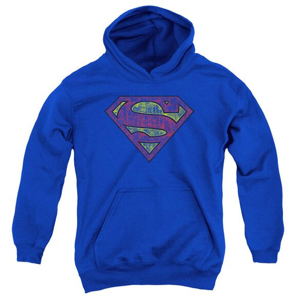 Superman Tattered Shield Youth Pull Over Hoodie