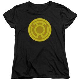 GREEN LANTERN YELLOW SYMBOL - S/S WOMENS TEE - BLACK T-Shirt