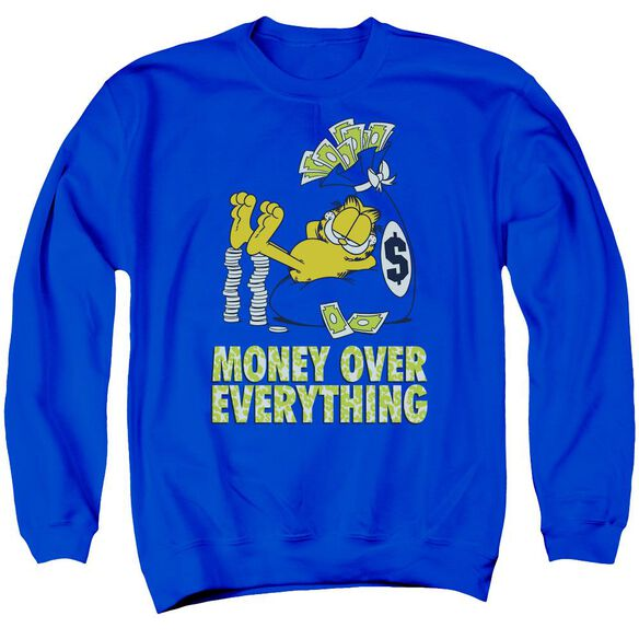 Garfield Money Is Everything Adult Crewneck Sweatshirt Royal