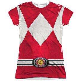 Power Rangers Red Ranger Short Sleeve Junior Poly Crew T-Shirt
