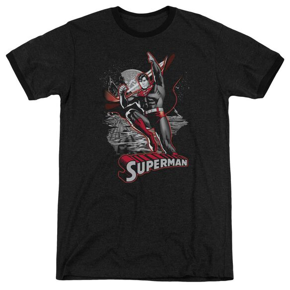 Jla Superman Red & Gray Adult Heather Ringer