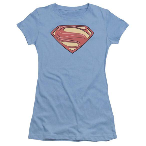 Man Of Steel New Solid Shield Short Sleeve Junior Sheer Carolina T-Shirt