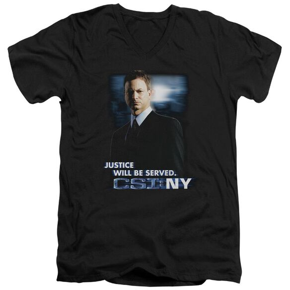 Csi:Ny Justice Served Short Sleeve Adult V Neck T-Shirt