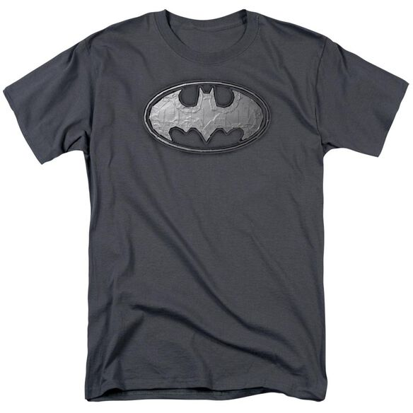 Batman Duct Tape Logo Short Sleeve Adult Charcoal T-Shirt