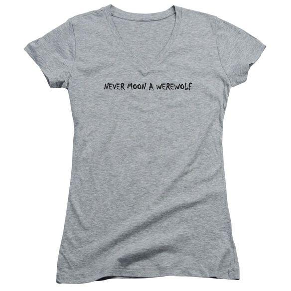 Never Moon A Werewolf Junior V Neck Athletic T-Shirt