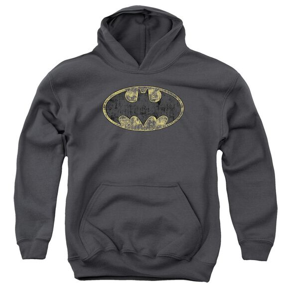 Batman Tattered Logo Youth Pull Over Hoodie