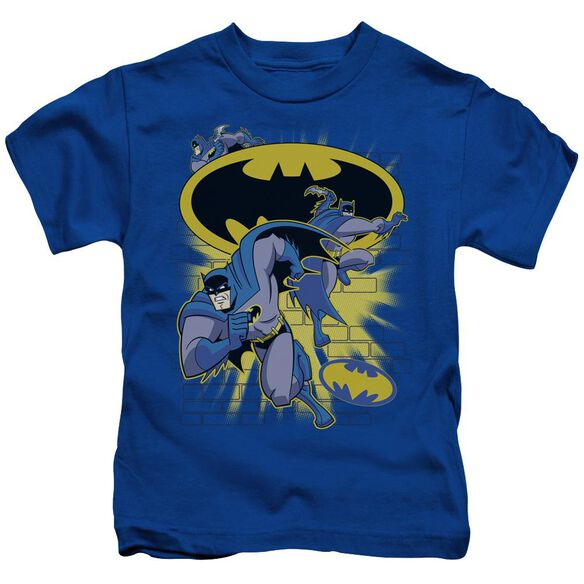 Batman Bb Action Collage Short Sleeve Juvenile Royal Blue T-Shirt