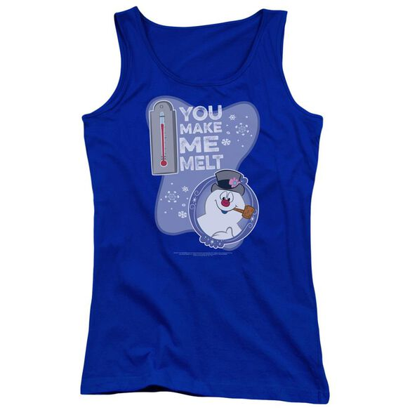 Frosty The Snowman Melt Juniors Tank Top Royal