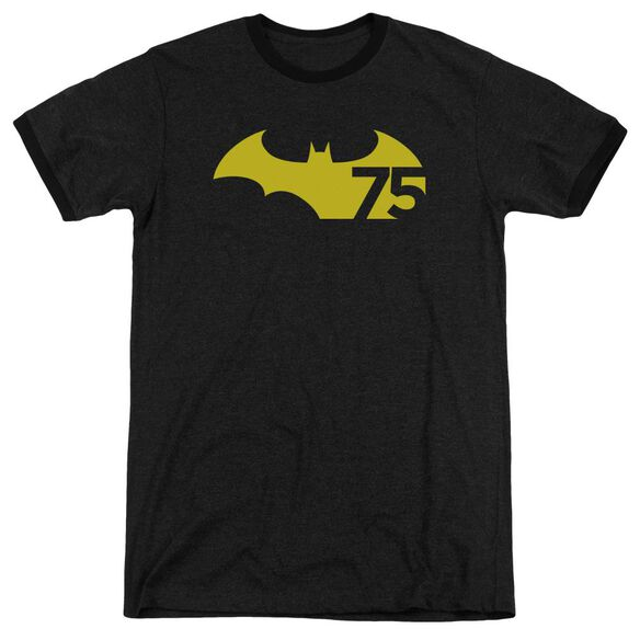 Batman 75 Logo 2 Adult Heather Ringer