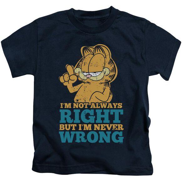 Garfield Never Wrong Short Sleeve Juvenile Navy Md T-Shirt