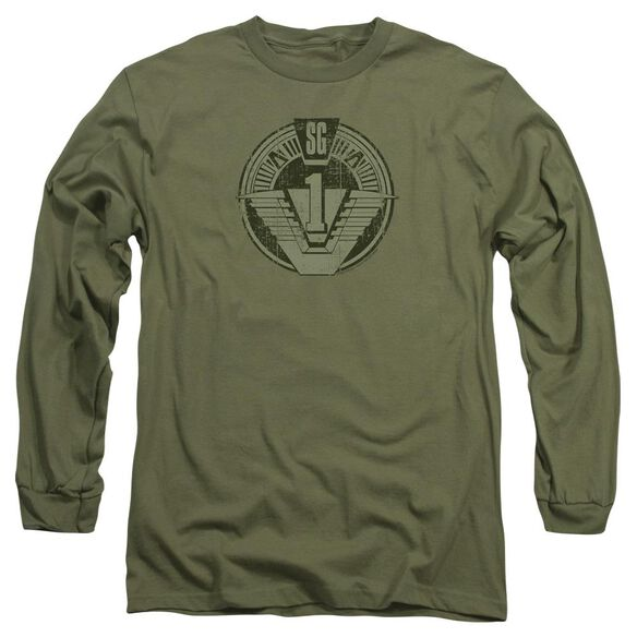 Stargate Sg1 Distressed Long Sleeve Adult Military T-Shirt