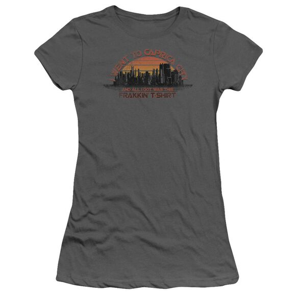 BSG CAPRICA CITY - S/S JUNIOR SHEER - CHARCOAL T-Shirt