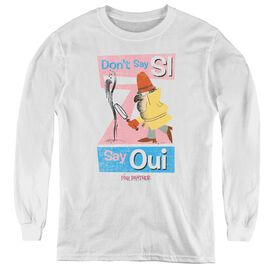 Pink Panther Say Oui - Youth Long Sleeve Tee - White
