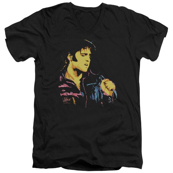 Elvis Neon Elvis Short Sleeve Adult V Neck T-Shirt
