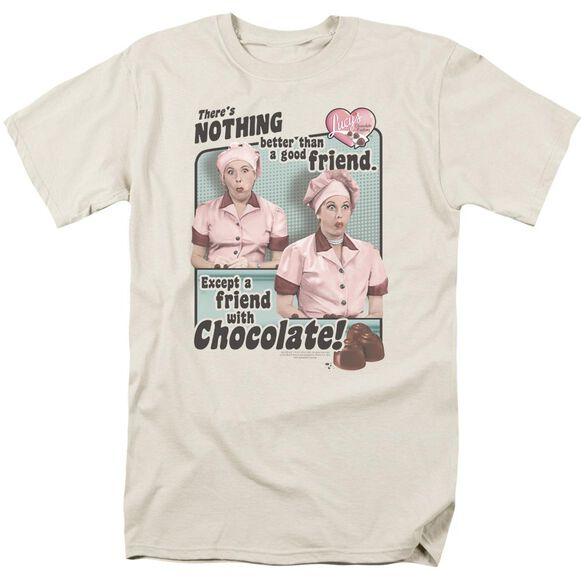 I Love Lucy Friends And Chocolate Short Sleeve Adult Cream T-Shirt