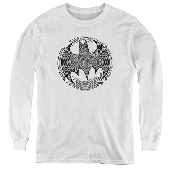 Batman Knight Knockout - Youth Long Sleeve Tee - White