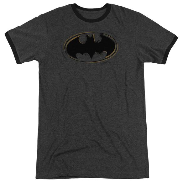 Batman Spray Paint Logo Adult Heather Ringer Charcoal