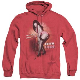 BETTIE PAGE LETS HAVE SOME FUN - ADULT HEATHER HOODIE - RED