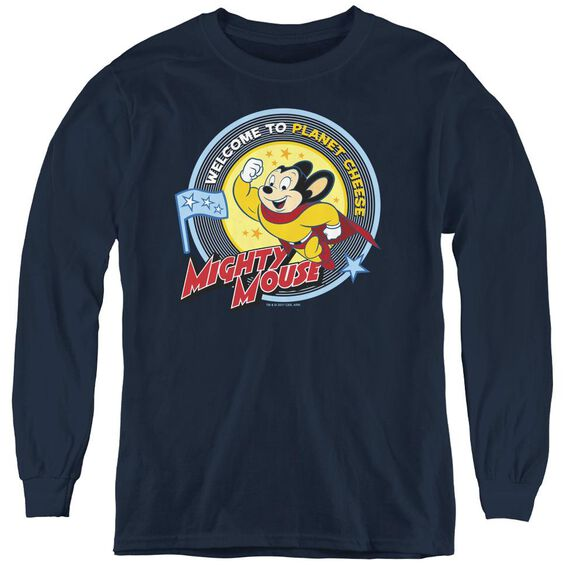 Mighty Mouse Planet Cheese - Youth Long Sleeve Tee - Navy