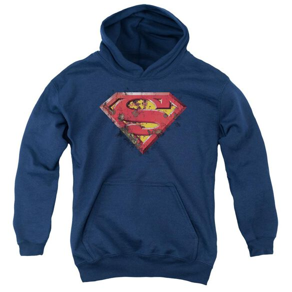 Superman Rusted Shield Youth Pull Over Hoodie